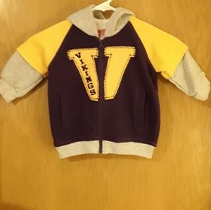 Minnesota Vikings Zipper Hoodie - Size 12 Months